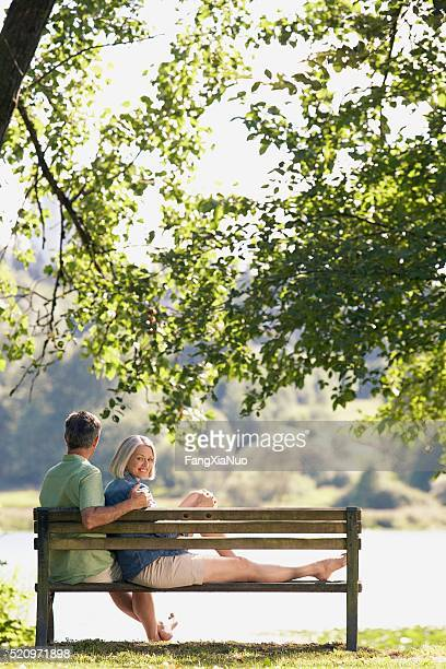Couple on a bench in a park