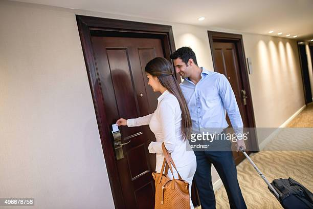 Couple on a business trip at the hotel