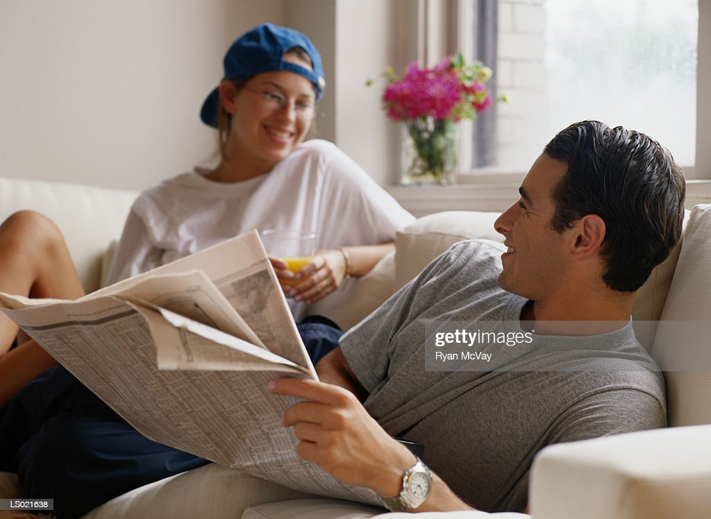 Couple on a Couch : Stock Photo