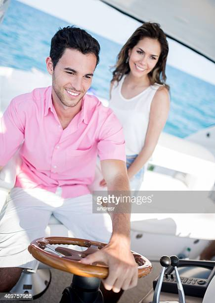 Couple on a date in a yacht