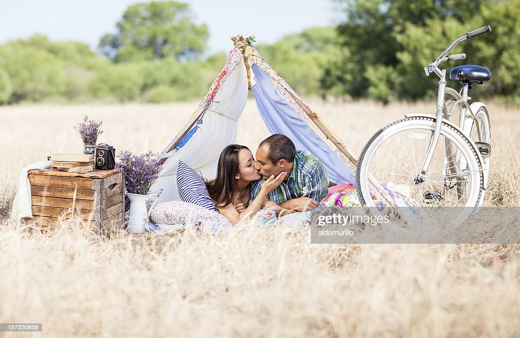 Couple on a date in the countryside : Stock Photo