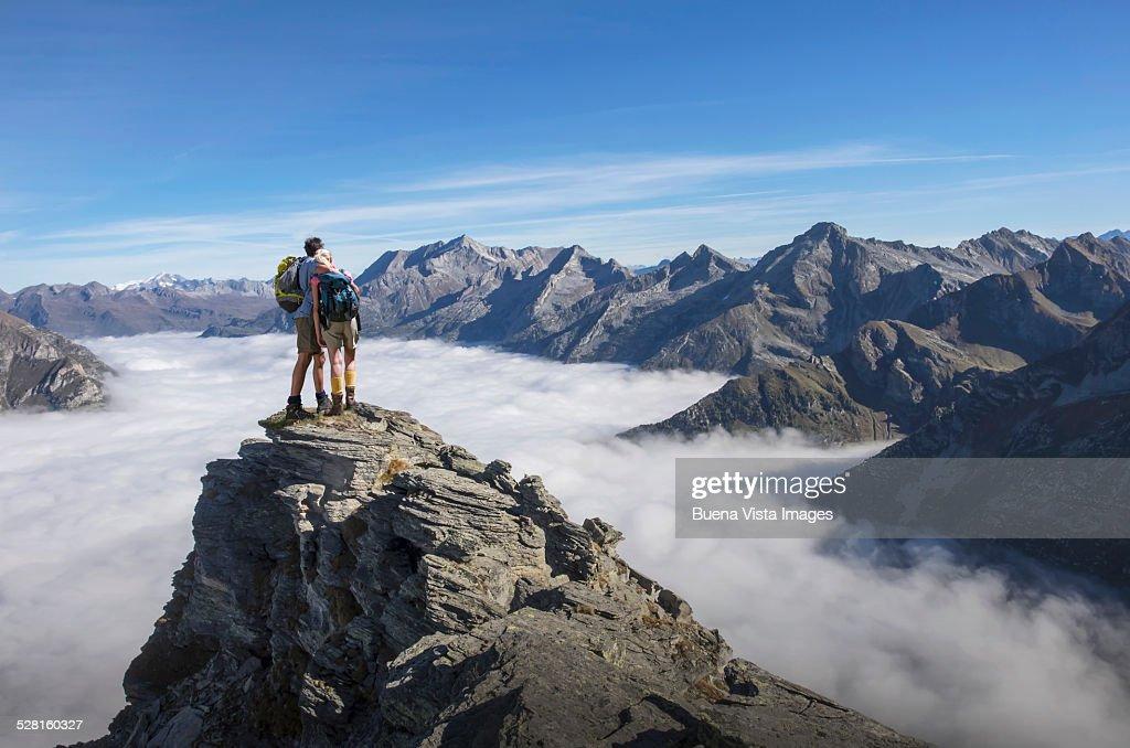 Couple on a mountain top : Stock Photo