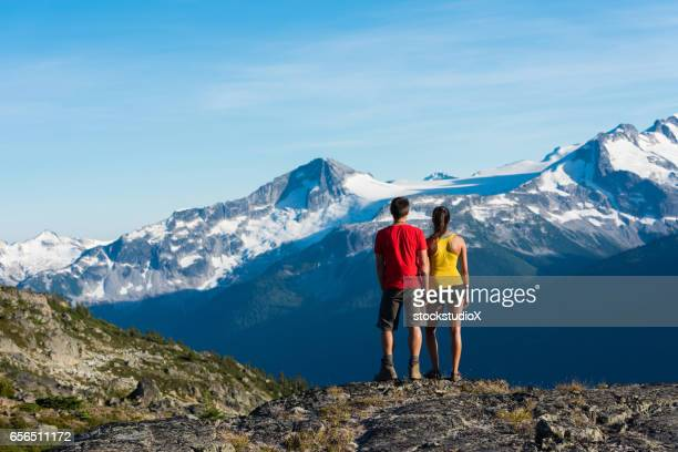 Couple on a stunning hike in the mountains