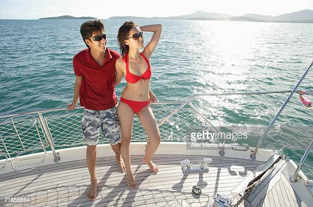 Couple on boat deck