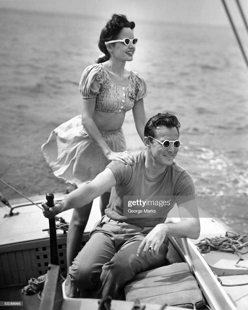 Couple on boat : Stock Photo