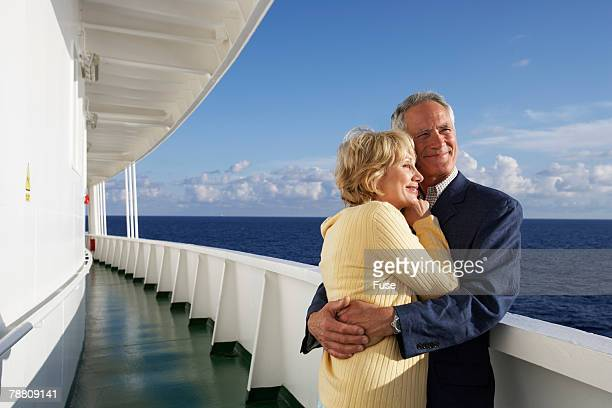 Couple on Cruise Ship Hugging