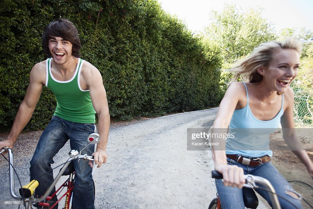 Couple on cycles : Stock Photo