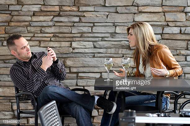 Couple on Date Guy Texting