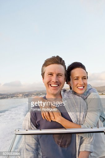 Couple on motorboat : Stockfoto