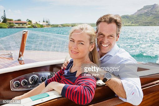 Couple on motorboat trip : Foto stock