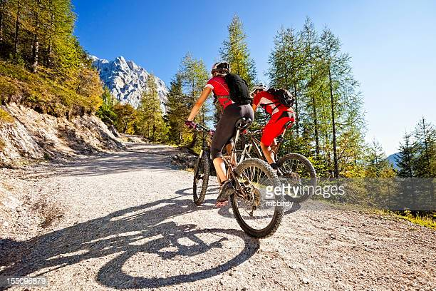 Couple on mountain bikes
