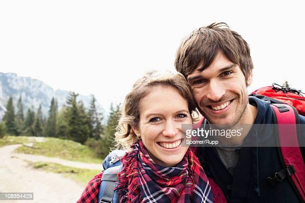 Couple on mountain portrait