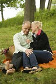 Couple on picnic in park