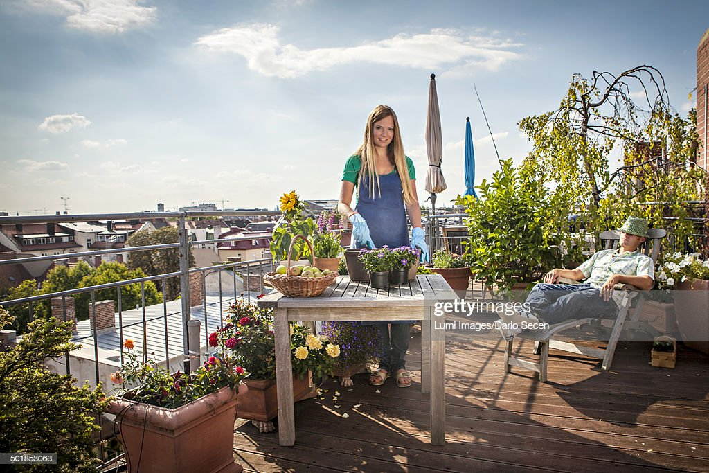 Couple On Roof garden, Munich, Bavaria, Germany, Europe