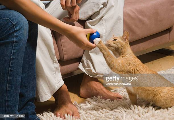 Couple on sofa, woman giving ball to cat