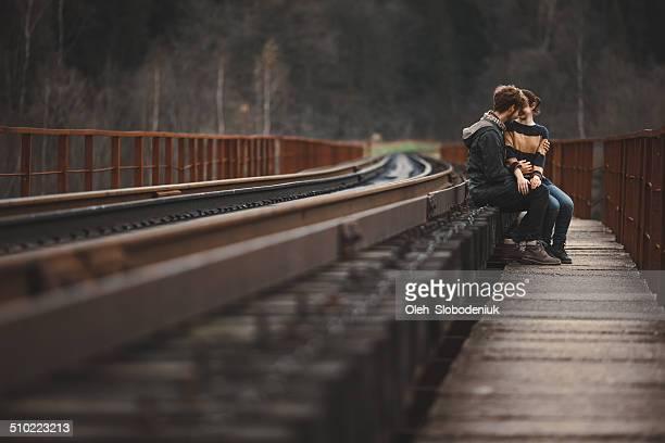 Couple on the train ways
