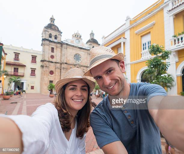 Couple on vacation taking a selfie