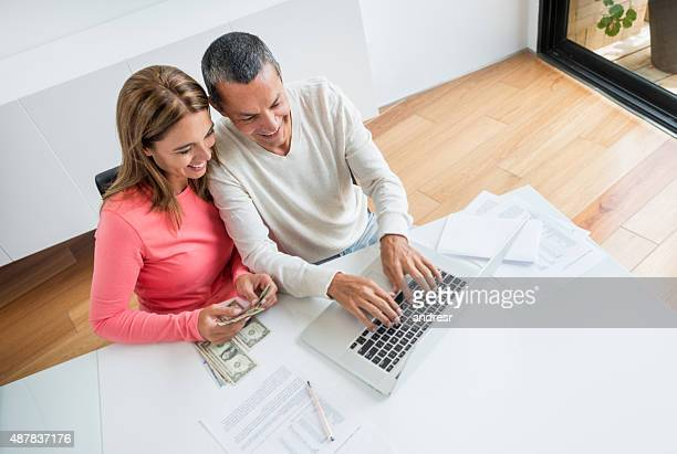 Couple organizing their home finances