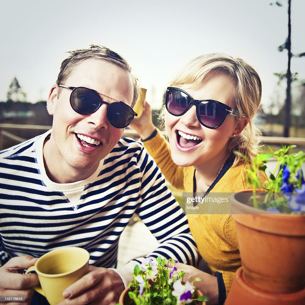 Couple outdoors in spring sun : Stock Photo