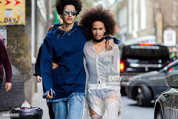 A couple outside Marques Almeida during London Fashion Week Spring/Summer collections 2017 on September 20 2016 in London United Kingdom