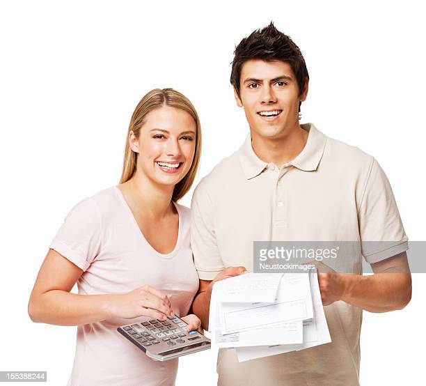 Couple Paying Bills - Isolated