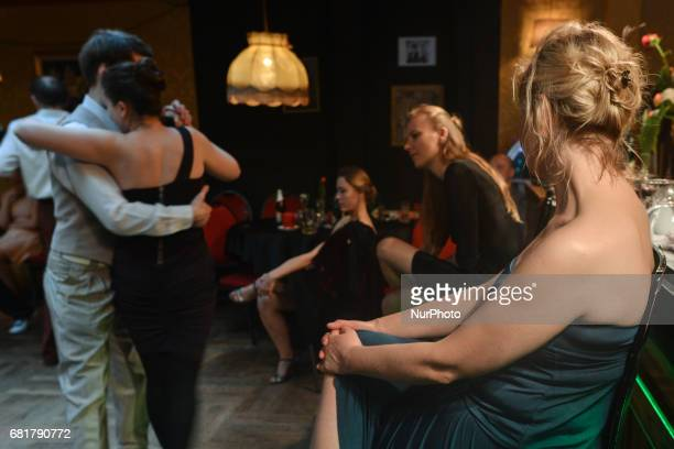 A couple perfoms Argentine tango during an afterparty event in Klub Cabaret an event that was a part of Krakus Aires Tango Festival 2017 a...