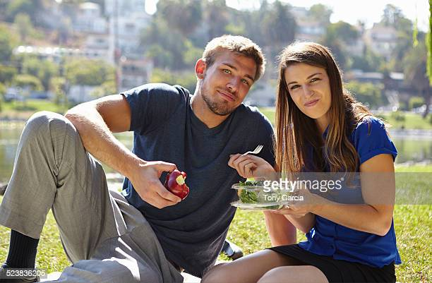 Couple picnicking, Echo Park, Los Angeles, California, US