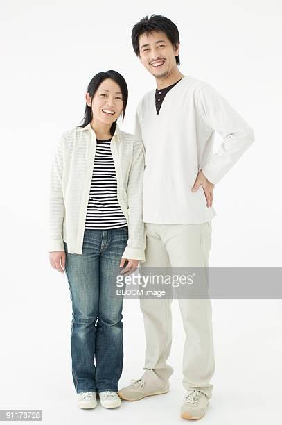 Couple, portrait, studio shot