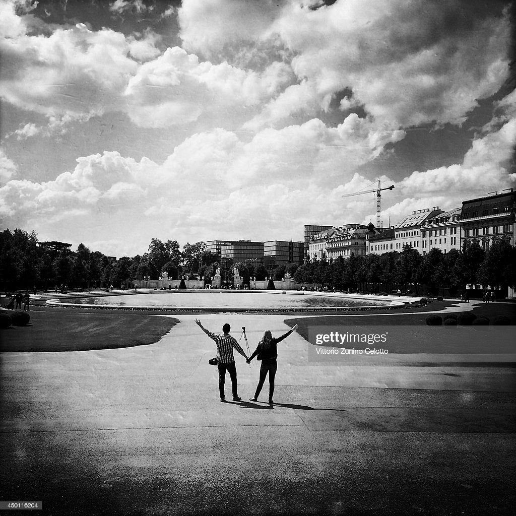 A couple pose for a self portrait at Belvedere Palace on June 1 2014 in Vienna Austria