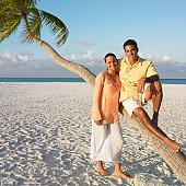 Couple posing at the beach