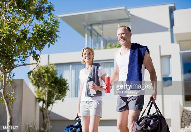 Couple preparing to exercise