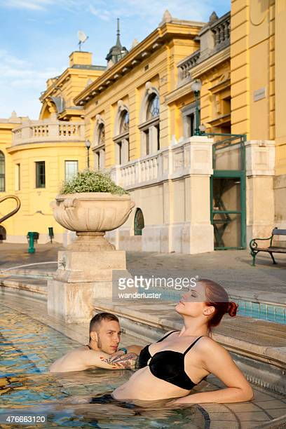 Couple relaxing at the outdoor spa