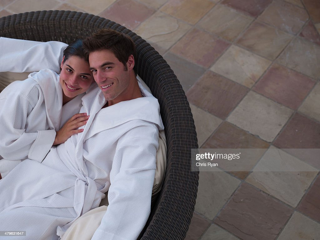 A couple relaxing in bathrobes : Stock Photo