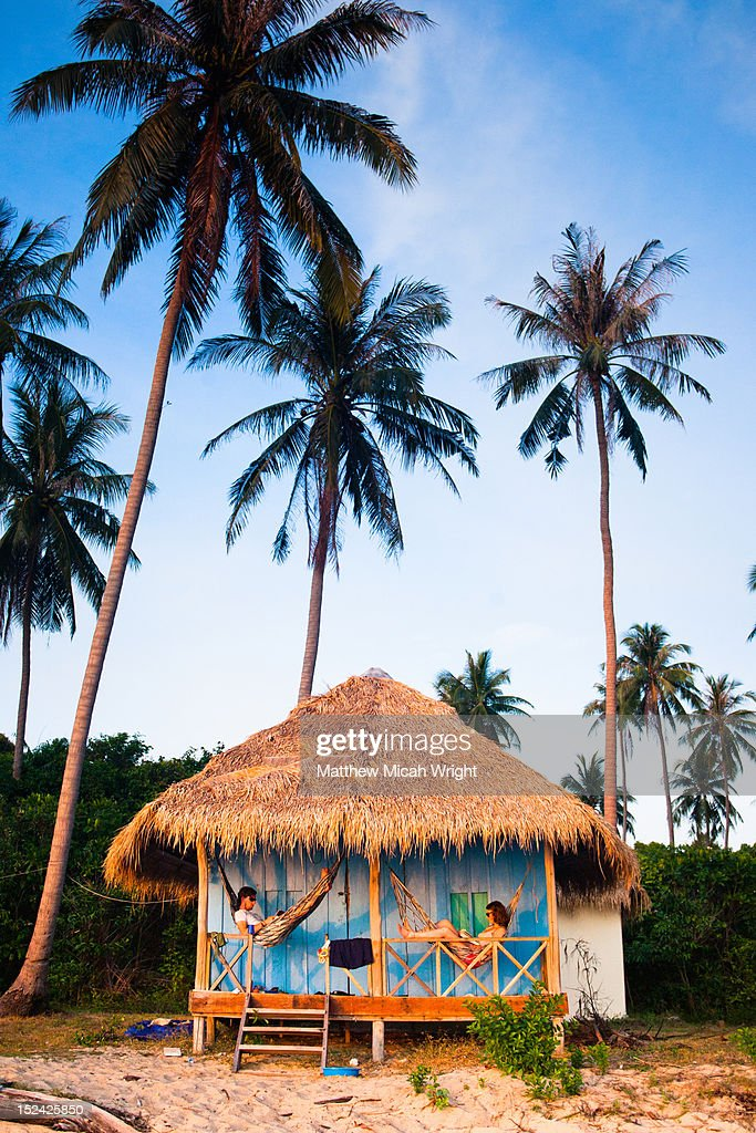 A couple relaxing in hammocks. : Stock Photo
