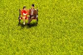 Dating, Embracing, Public Park, Springtime, Copy Space, miniature, love, rest, figure, healing
