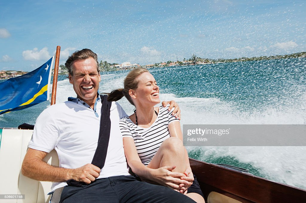 Couple relaxing on motorboat : Foto stock