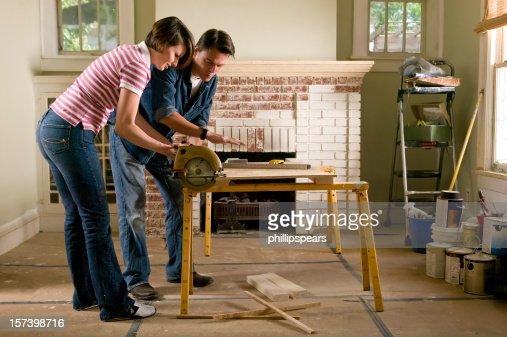 Couple renovating a home interior