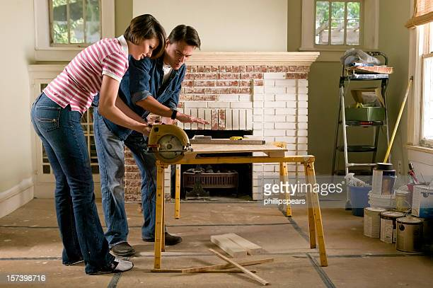 Couple renovating a home interior