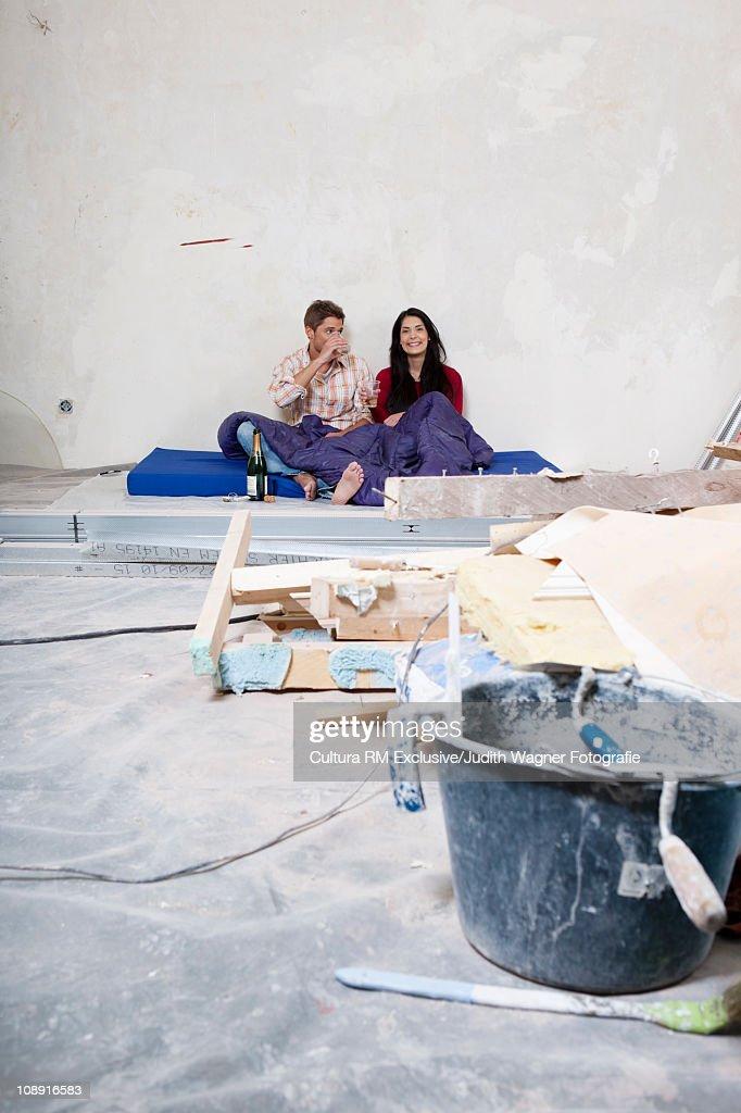 Couple renovating room
