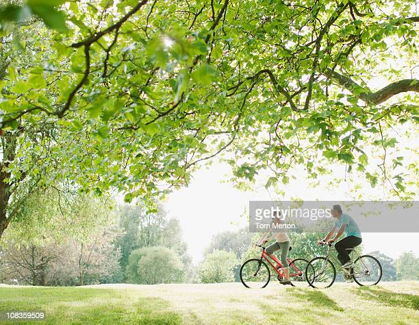Couple riding bicycles underneath tree
