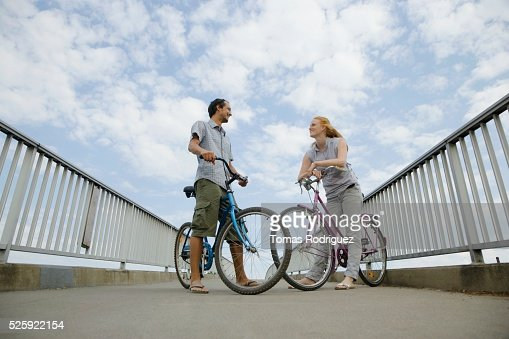 Couple Riding Bikes : Stock Photo