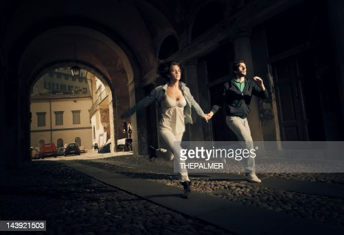 couple running scare