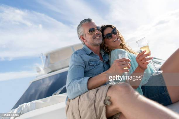 Couple sailing on a yacht