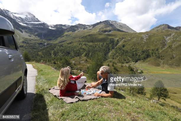 Couple share picnic beside car, in mountain meadow