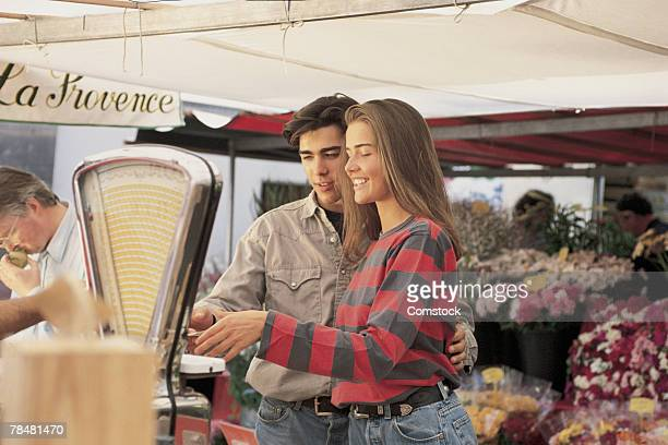 Couple shopping at Germaine Market in Paris