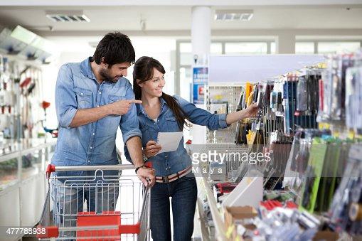 Couple shopping diy store