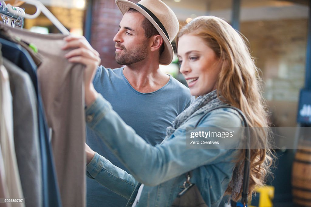 Couple shopping for clothes