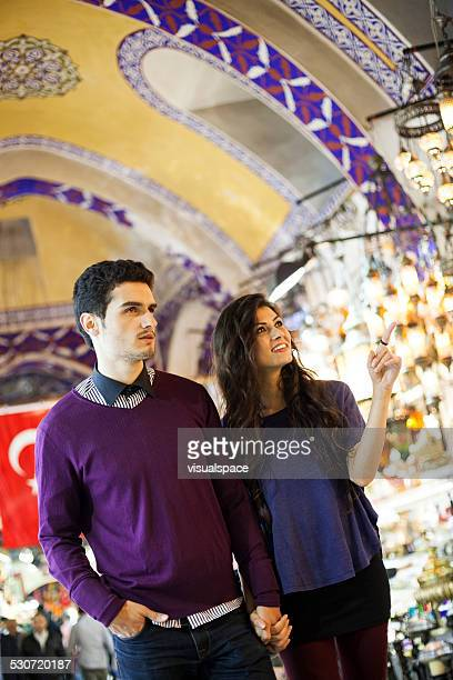 Couple Shopping in Bazaar