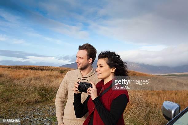 Couple sightseeing at countryside, Connemara, Ireland