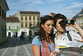 Couple sightseeing in Brasov, Romania